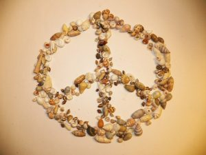 peace sign made from sea shells