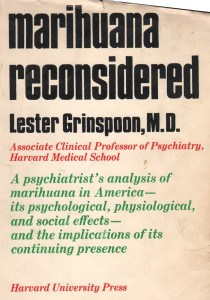 Scan of book cover of Marihuana Reconsidered, written by Lester Grinspoon, M.D.